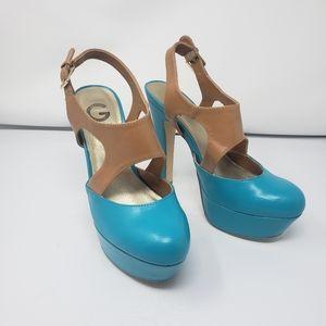Guess heels tan and blue size 9 platform